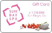 Suki Day Spa gift card for nail treatment, pedicure, manicure, massage, facial, waxing, spray tan, eyelashes, skin care, relaxation.